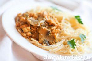 Спагетти с фаршем и грибами