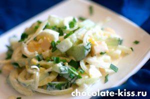 Салат из огурцов сыра и яиц