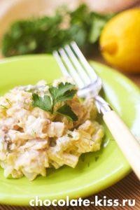 Салат с сельдью и фасолью