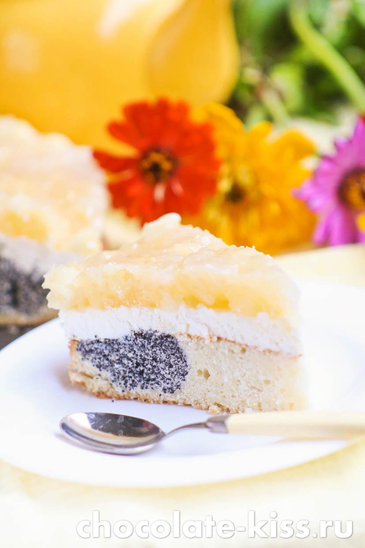 Творожно — маковый торт