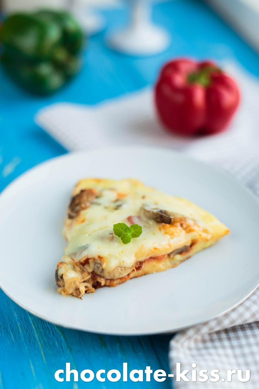 Быстрая пицца на сковороде на сметане